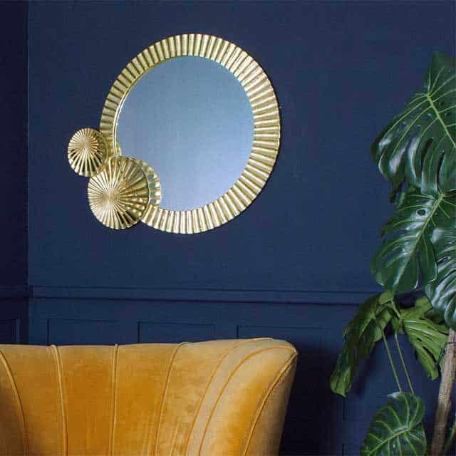 Lily Pad Art Deco Gold Mirror - £234