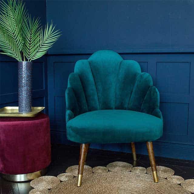 Sienna Teal Velvet Shell Chair - £499