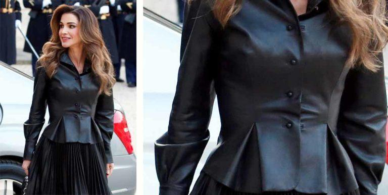 La giacca in pelle nera di Scervino e Rania di Giordania
