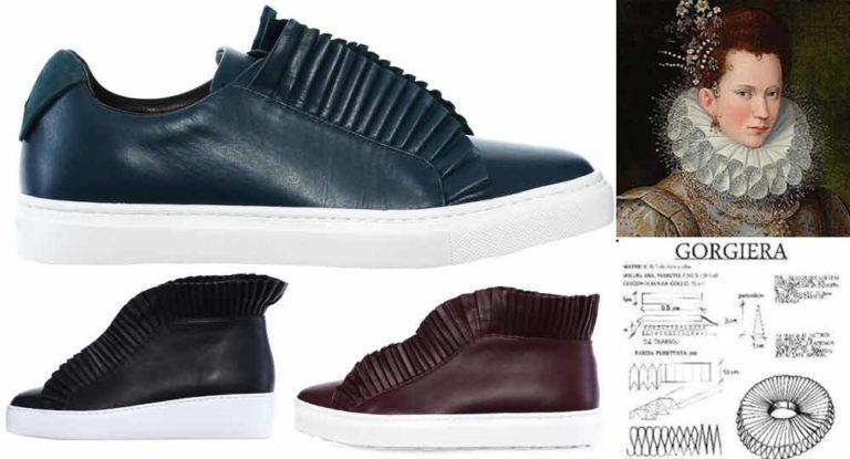 Le sneakers effetto gorgiera