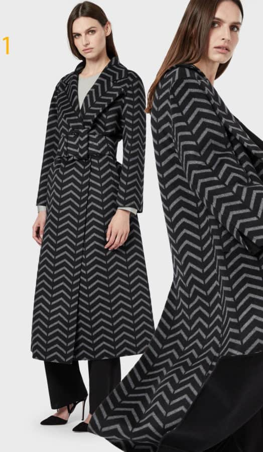Giorgio Armani - Maxi cappotto in lana e cashmere chevron