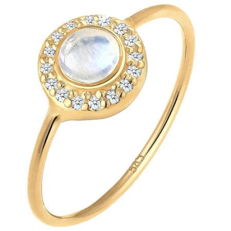 Diamante e pietra di luna per l'anello di Elli