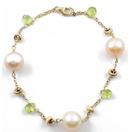 Bracciale da donna con perle e peridoto in Oro di Dienneci Gioielli