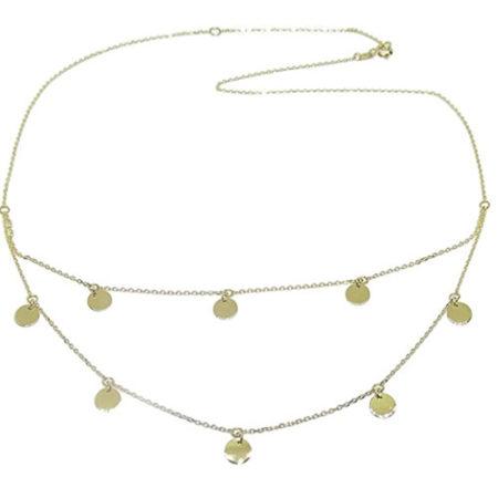 Doppia collana moderna in oro giallo 18 carati