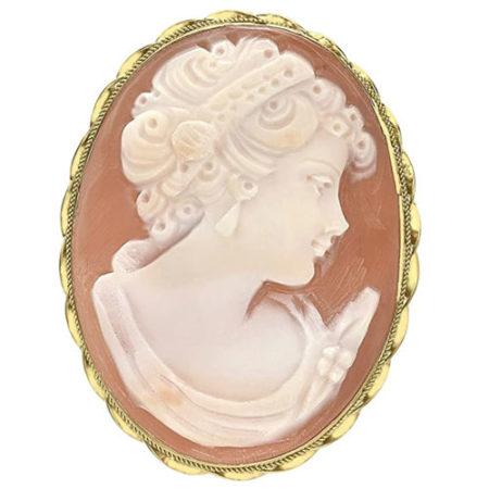 Spilla Cameo da Donna in Oro Giallo