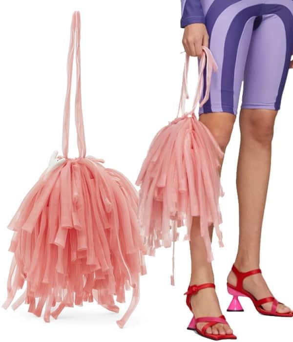Paula Canovas Del Vas -Pink Organza Mini Fringe Bag