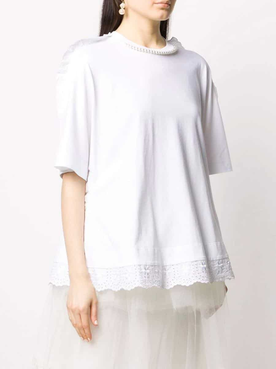 Simone Rocha T-shirt con bordi in pizzo sangallo