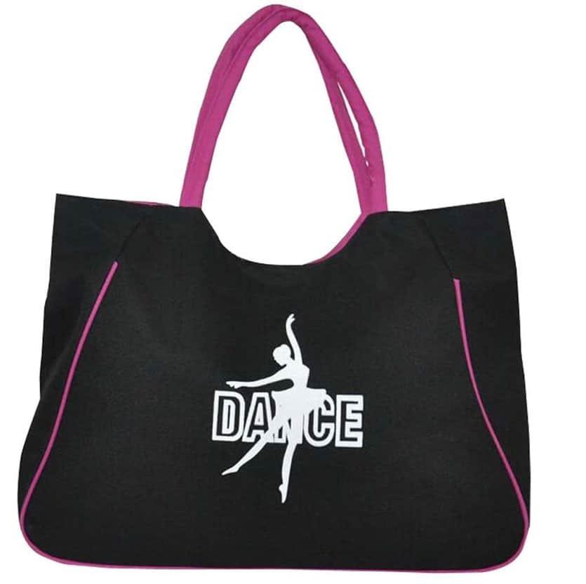 Simpatica e allegra, la borsa da portare a scuola di ballo non dimentica la stampa con la ballerina. Pratica e capiente, può contenere cosmetici, cambio e scarpe.
