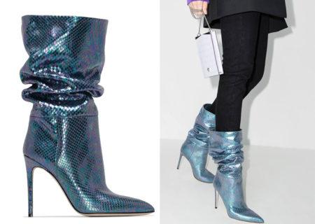 Gli stivali con stampa blu in pelle di Paris Texas