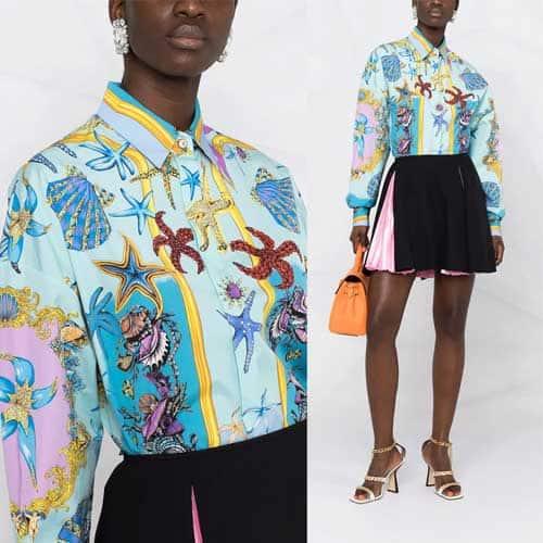Versace - Camicia con stampa Trésor de La Mer